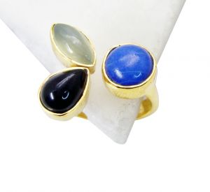 Riyo Black Onyx Gold Plated Wholesale Purity Ring Jewelry Sz 8 Gprmul8-53010