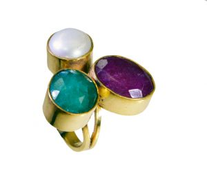 Riyo Three Stone 18.kt Y Gold Plated Mothers Ring Sz 8.5 Gprmul8-53037