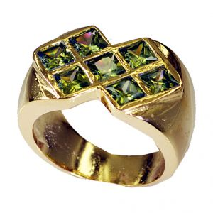 Riyo Peridot Cz 18kt Y Gold Fashion Ecclesiastical Ring Sz 7.5 Gprpecz7.5-100019