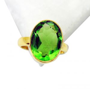 Riyo Peridot Cz 18kt Y Gold Plating Beautiful Ring Sz 8 Gprpecz8-100011