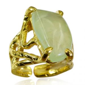 Riyo Prehnite Gold Plated Indian Signet Ring Jewelry Sz 5 Gprpre5-60035