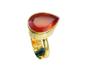 Riyo Red Onyx 18 Ct Ygold Plated Mourning Ring Sz 5 Gprron5-66049
