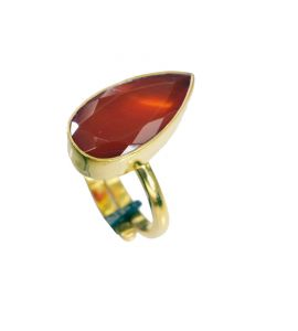Riyo Red Onyx 18-kt Y Gold Plating Promise Ring Sz 6 Gprron6-66047