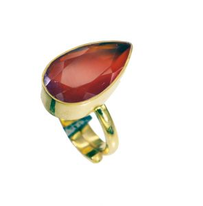 Riyo Red Onyx 18 Kt Y Gold Plating Cocktail Ring Sz 7 Gprron7-66052