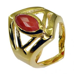 Riyo Red Onyx 18.kt Gold Plated Signet Ring Jewelry Sz 8 Gprron8-66038