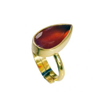 Riyo Red Onyx 18.kt Y Gold Plated Finger Armor Ring Sz 8 Gprron8-66046