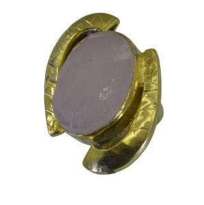 Riyo Pink Rose Quartz 18kt Gold Plated Flexible Ring Gprroq60-68054