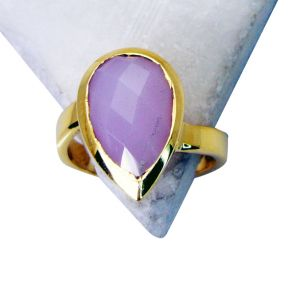 Riyo Rose Quartz 18-kt Y Gold Plated Classic Day Rings Sz 8 Gprroq8-68029