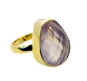 Riyo Rose Quartz 18k Y Gold Plate Friendship Ring Sz 9 Gprroq9-68034