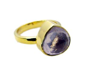 Riyo Rose Quartz 18kt Gold Plated Regards Ring Jewelry Sz 9 Gprroq9-68039