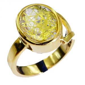 Riyo Rutiled Quartz Cz Gold Plated Fashion Cocktail Ring Sz 7 Gprrqcz7-106006