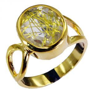 Riyo Rutiled Quartz Cz Gold Plated India Ring Sz 8 Gprrqcz8-106010