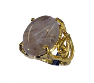 Riyo Rutilated Quartz 18-kt Gold Platings Toe Ring Jewelry Sz 4 Gprruq4-70017