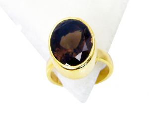 Riyo Smoky Quartz 18k Y Gold Plating Classic Day Rings Sz 6 Gprsqu6-76021