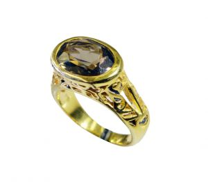 Riyo Smoky Quartz 18 Kt Gold Platings Mothers Ring Sz 6 Gprsqu6-76083