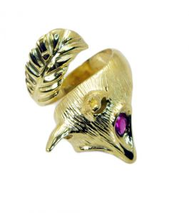 Riyo Gemstone 18kt Gold Plated Squirrel Ring Gprsqu80-310003