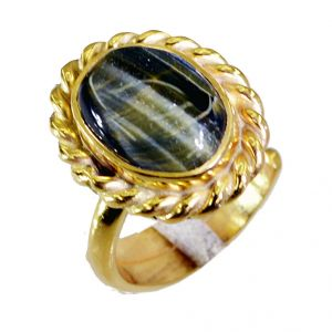 Riyo Tiger Eye 18kt Y Gold Fashion Ring Sz 5 Gprtey5-80021
