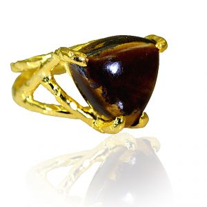 Riyo Tiger Eye 18k Y.g. Plated Promise Ring Sz 7 Gprtey7-80010
