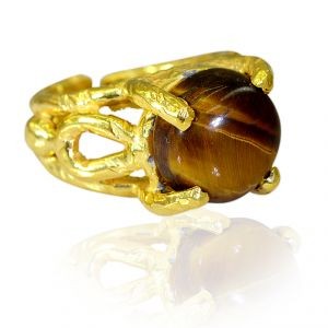 Riyo Tiger Eye 18 C Gold Plated Birthstones Ring Sz 7.5 Gprtey7.5-80011