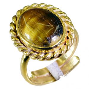 Riyo Tiger Eye 18-kt Y Gold Plated Sports Ring Sz 7.5 Gprtey7.5-80038