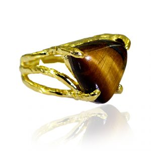 Riyo Tiger Eye 18 Kt Gold Platings Mourning Ring Sz 8 Gprtey8-80014