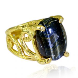 Riyo Tiger Eye 18.kt Gold Plated Toe Ring Jewelry Sz 8 Gprtey8-80015
