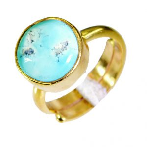 Riyo Turquoise Gold Plated Costume Engagement Ring Sz 5 Gprtur5-82010