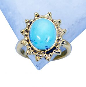 Riyo Turquoise 18kt Gold Platings Thumb Ring Sz 5 Gprtur5-82087