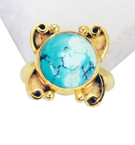 Riyo Turquoise 18 C Gold Plated Wedding Bands Sz 5 Gprtur5-82088