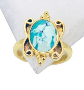 Riyo Turquoise 18c Y Gold Plated Wedding Ring Jewelry Sz 5 Gprtur5-82089