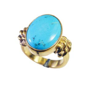 Riyo Turquoise 18k Y.g. Plated Eternity Ring Sz 5 Gprtur5-82091