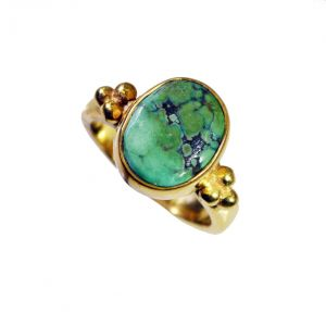 Riyo Turquoise 18 Ct Ygold Plating Cocktail Ring Sz 5 Gprtur5-82098