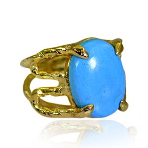 Riyo Turquoise 18 Kt Gold Platings Finger Armor Ring Sz 5 Gprtur5-82190