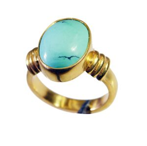 Riyo Turquoise 18kt Y.g. Plated Classic Day Rings Sz 5.5 Gprtur5.5-82107
