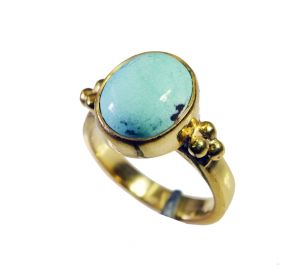 Riyo Turquoise 18 Kt Y Gold Plating Ecclesiastical Ring Sz 5.5 Gprtur5.5-82108