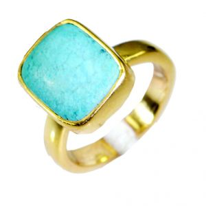 Riyo Turquoise Wholesale Gold Plated Sovereign Ring Sz 6 Gprtur6-82019