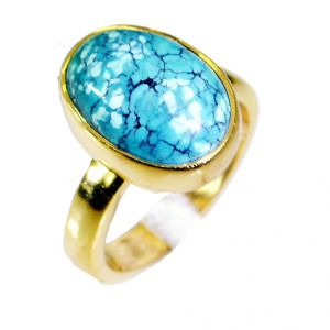 Riyo Turquoise Indian Gold Plate Wedding Bands Sz 6 Gprtur6-82022