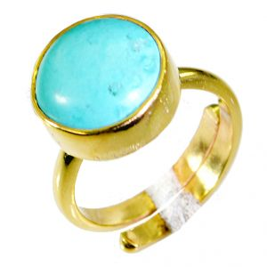 Riyo Turquoise Gold Plated Designs Purity Ring Jewelry Sz 6 Gprtur6-82028