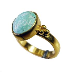 Riyo Turquoise 18c Ygold Plating Sovereign Ring Sz 6 Gprtur6-82118