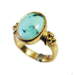 Riyo Turquoise 18 Kt Y.g. Plated Wedding Ring Jewelry Sz 6 Gprtur6-82122
