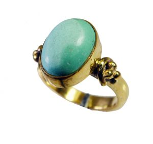 Riyo Turquoise 18kt Gold Plated Finger Armor Ring Sz 6 Gprtur6-82125