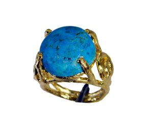 Riyo Turquoise 18.kt Gold Plating Regards Ring Jewelry Sz 6 Gprtur6-82181