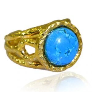Riyo Turquoise 18 C Gold Plating Mourning Ring Sz 6 Gprtur6-82192