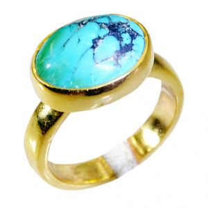Riyo Turquoise 18c Y Gold Plated Class Ring Sz 6.5 Gprtur6.5-82040