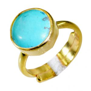 Riyo Turquoise 18 Kt Gold Platings Friendship Ring Sz 7 Gprtur7-82044