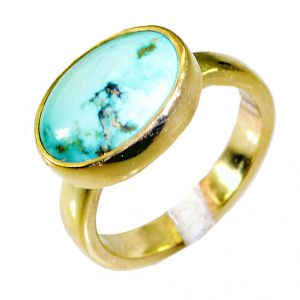 Riyo Turquoise 18kt Y Gold Fashion Signet Ring Jewelry Sz 7 Gprtur7-82051