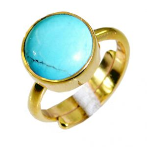 Riyo Turquoise 18 Ct Ygold Plated Wedding Ring Jewelry Sz 7 Gprtur7-82056