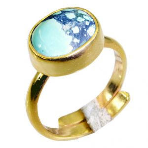 Riyo Turquoise 18c Gold Plating Mourning Ring Sz 7 Gprtur7-82062
