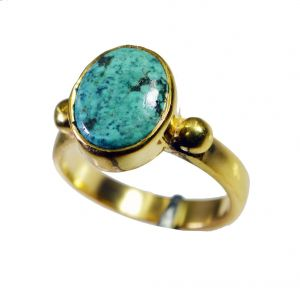 Riyo Turquoise 18kt Y Gold Plating Ecclesiastical Ring Sz 7 Gprtur7-82141
