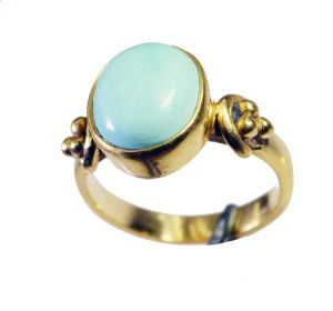 Riyo Turquoise 18kt Y Gold Fashion Rosary Ring Jewelry Sz 7 Gprtur7-82149